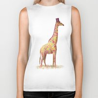 giraffe Biker Tanks featuring Fashionable Giraffe by Terry Fan