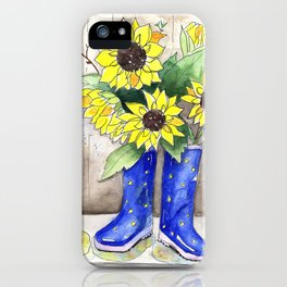 Sunflowers in Rain Boots iPhone Case