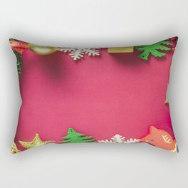 Christmas frame pink background New Year frame for cards balls tree Rectangular Pillow
