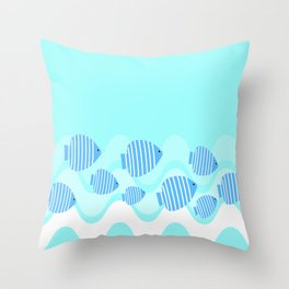 Kitschy Blue Angel Fish Throw Pillow