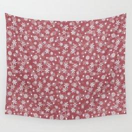 Christmas Rose Velvet Snow Flakes Wall Tapestry