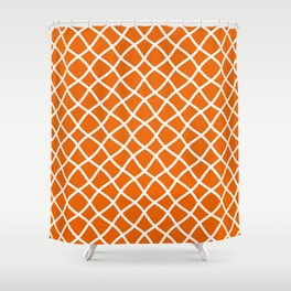 Bright orange and white curved grid pattern Shower Curtain