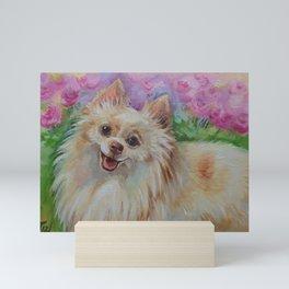 White Pomeranian in the rose garden Cute miniature spitz dog portrait Oil painting on canvas Mini Art Print