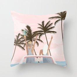 Beach Spring Break Throw Pillow