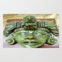 malachite Area & Throw Rugs featuring Malachite Aztec mask by lennyfdzz