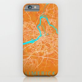 Limerick, Ireland, Gold, Blue, City, Map iPhone Case