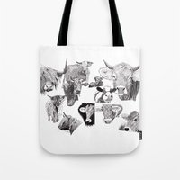 cows Tote Bags featuring Cows by Rik Reimert