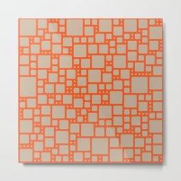 abstract cells pattern in orange and beige Metal Print
