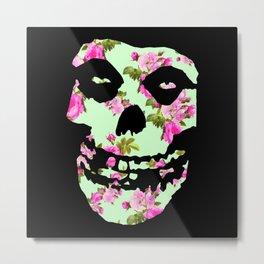 Green with Pink Rose Misfit  Metal Print