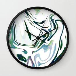 Greed Liquid Marbled Waves Design Wall Clock