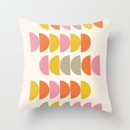 Cute Geometric Shapes Pattern in Pink Orange and Yellow Throw Pillow