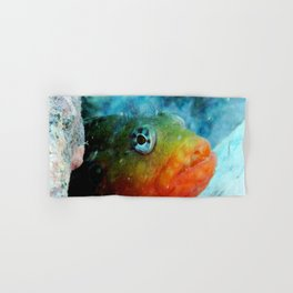Watercolor Fish Hairy Blenny, Courting Male, Where'd She Go? Hand & Bath Towel