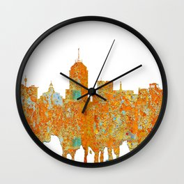 Fresno, California Skyline - Rust Wall Clock