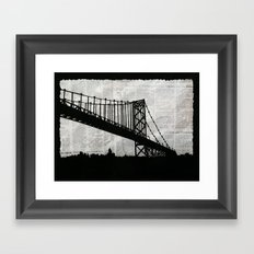 News Feed , Newspaper Bridge Collage, night silhouette cityscape news paper cutout, black and white  Framed Art Print