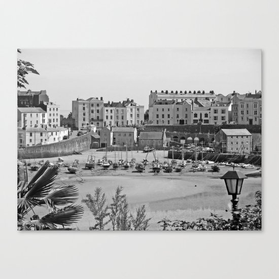 Tenby Harbour. Black+White. Reflection. Canvas Print