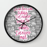cities Wall Clocks featuring Cities by Raphaella Martelino