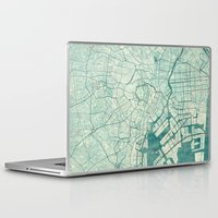vintage map Laptop & iPad Skins featuring Tokyo Map Blue Vintage by City Art Posters