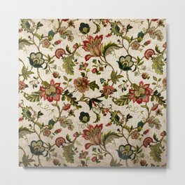 Red Green Jacobean Floral Embroidery Pattern Metal Print