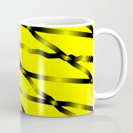 Slanting black lines and rhombuses on yellow with intersection of glare. Coffee Mug