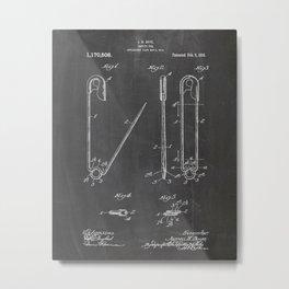 Safty Pin Patent Drawing Metal Print