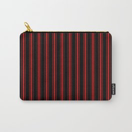 Mattress Ticking Wide Striped Pattern Red on Black Carry-All Pouch