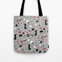 depression Tote Bags featuring depression by Reinekke