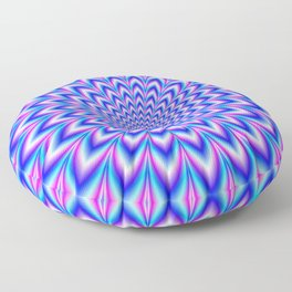 Psychedelic Pulse in Blue and Pink Floor Pillow