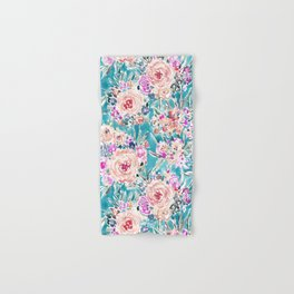 WAHINE WAYS Aqua Tropical Floral Hand & Bath Towel