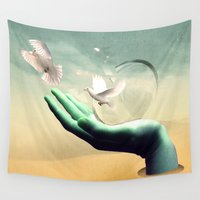 magritte Wall Tapestries featuring magical  by mark ashkenazi