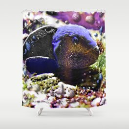 Wild Fishy Story By A Blue Fish Shower Curtain
