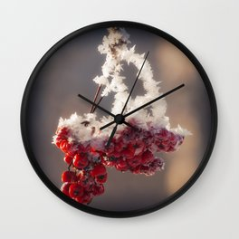 Berries in Ice Wall Clock