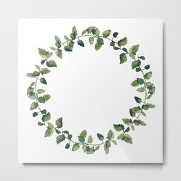 Herbal wreath of balm mint twigs, isolated on white. Watercolour illustration.  Metal Print