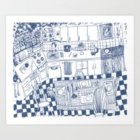 kitchen Art Prints featuring Kitchen by The Printed Peanut