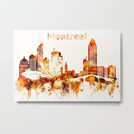 Montreal Canada Red Yellow Skyline Metal Print