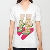 feet V-neck T-shirts featuring Feet by Mauro Squiz Daviddi