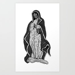 Our Lady of Guadalupe (B&W) Art Print