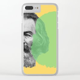 Walt Whitman portrait yellow green Clear iPhone Case