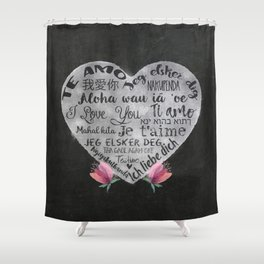I Love You Chalk Heart Shower Curtain