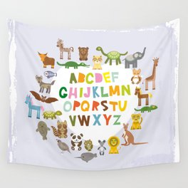 back to school. alphabet for kids from A to Z. funny cartoon animals Wall Tapestry