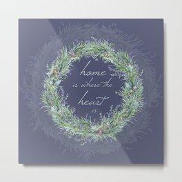 Lavander Wreath Dark  Metal Print