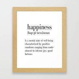Happiness Definition, Adult, College Dorm Room Decor, Dorm Wall Art, Dictionary Art Print, Office De Framed Art Print