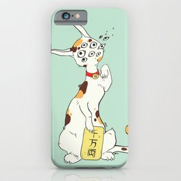 Maneki Neko Lucky Cat Artwork, Good Luck Japanese Calico iPhone Case