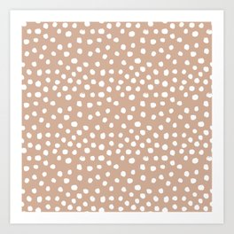 Dots - almond, muted, rust, earth tones, brown, muted, painted dots, painterly, minimal, simple pattern Art Print