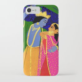 Radha & Krsna Colorful Illustration  iPhone Case