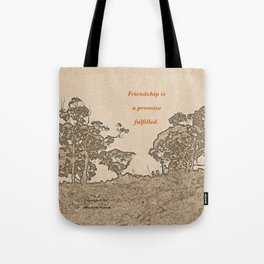 """""""Catalina Trees #2"""" with poem: Simple Friendship Tote Bag"""