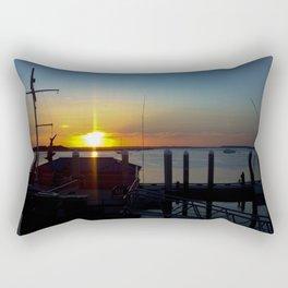 Sunset at Fernandina Harbor Marina Florida Rectangular Pillow