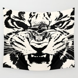 White Tiger Vector Wall Tapestry