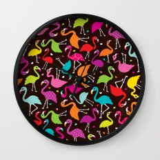 Brazil flamingo bird colorful retro pattern print Wall Clock