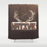 native american Shower Curtains featuring Native by Pilgrim