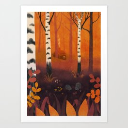 Hedgehog Forest Art Print